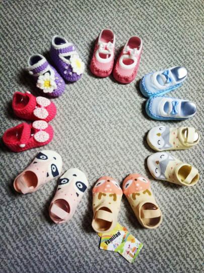 Yamilan 婴儿毛线袜新生儿手工编织鞋袜男女幼儿立体地板袜春秋薄款造型袜子 27#紫色带珠白花 0-6个月/脚长10厘米以内 晒单图