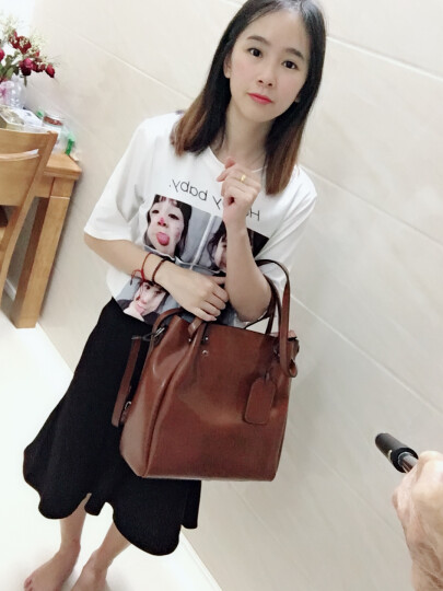 纳兰杜(Nalandu)女包2018新款单肩包女牛皮大包休闲时尚购物袋女士包包 88935-棕色 晒单图