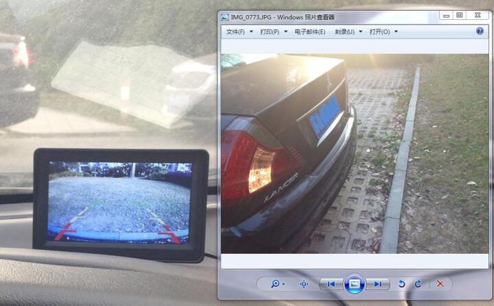 杰神汽车语音可视倒车雷达一体机12V小车24v货车高清夜视倒车影像系统 4.3寸折叠屏+常规线+小车摄像头 晒单图