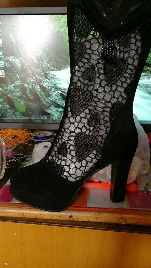 众踱春季欧美暗钻纱网镂空中筒凉靴羊皮女单靴粗跟流苏女靴 黑色 37 晒单图