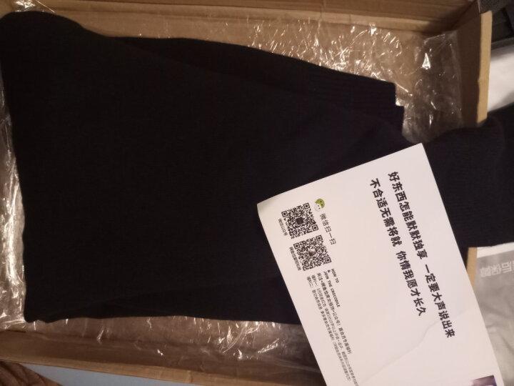 鳄鱼恤男士纯羊绒衫男100%山羊绒纯色两翻高领套头毛衣基础打底衫 黑色 175/92A(110cm) 晒单图