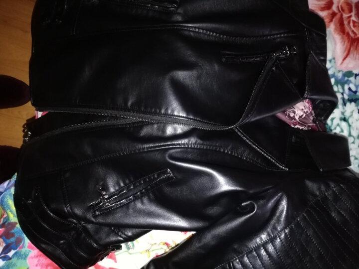 嫣姿兰 皮衣女2017秋冬新款韩版修身PU机车皮夹克大码短款时尚外套女上衣 黑色 XL 晒单图
