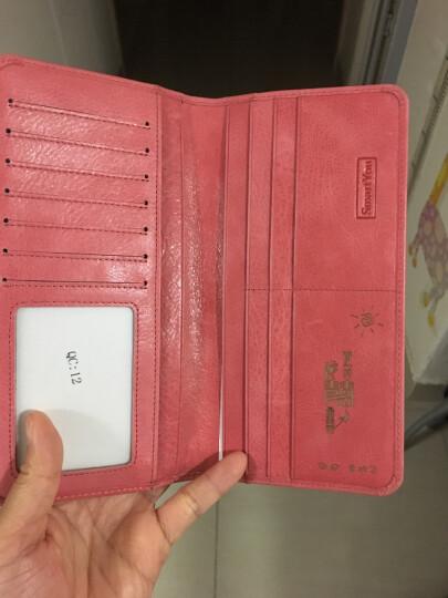 女士长款钱包牛皮超薄软皮个性防盗刷防NFC2019新款卡包多卡位 木槿紫 竖款 晒单图