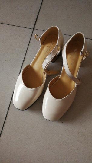 【618提前开抢 极速达】品牌钜惠春夏新款一字扣带时尚粗跟单鞋 意大利名品-杏色 36 晒单图