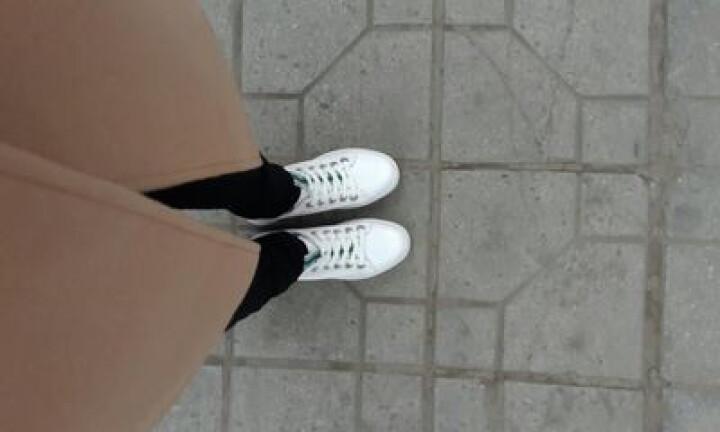 戈美其休闲小白鞋女韩版运动板鞋深口圆头单鞋学生摇摇鞋子2018春季新品 白绿色 38 晒单图