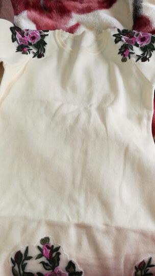 Galadriel 2017秋装新款中长款刺绣牡丹花圆领针织衫长袖套头毛衣女 米白色 均码 晒单图
