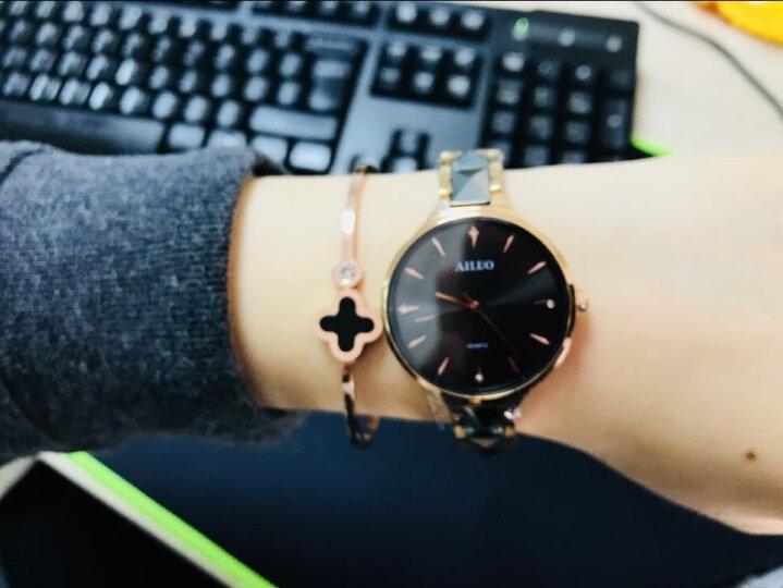 艾诺(AILUO)新款女士手表时尚简约钨钢手链式女表石英防水钟表 【热卖爆款】玫金黑面 晒单图