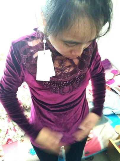 秀色滨伊 打底衫女2018春装新款韩版金丝绒蕾丝上衣长袖百搭 6738蓝色 XXL 晒单图