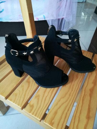 凉鞋女 夏高跟粗跟鱼嘴网纱女鞋女士凉鞋夏天露趾罗马女鞋 黑色热卖 40 晒单图
