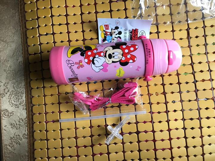 迪士尼(Disney) 保温杯 儿童不锈钢真空保温吸管水壶  男女学生背带户外保温杯子 1919米妮粉450ml 晒单图