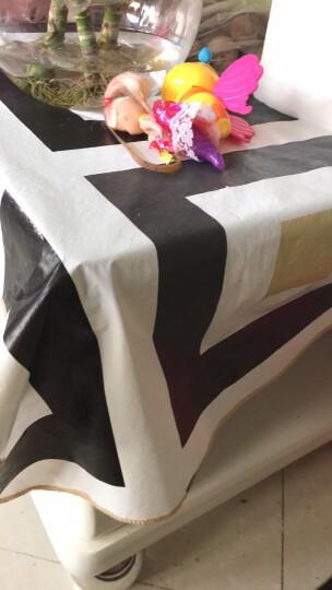 一朵 欧式田园格子韩式桌布防水免洗塑料餐桌布PVC台布防油茶几布包邮 曲边PVC桌布同心方块 桌布106*152cm 晒单图