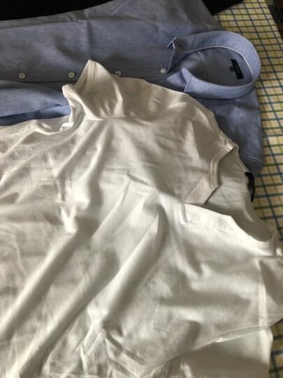 Brloote/巴鲁特男士纯棉短袖T恤 男夏季休闲小V领时尚修身简约体恤衫 白色 175/96A 晒单图