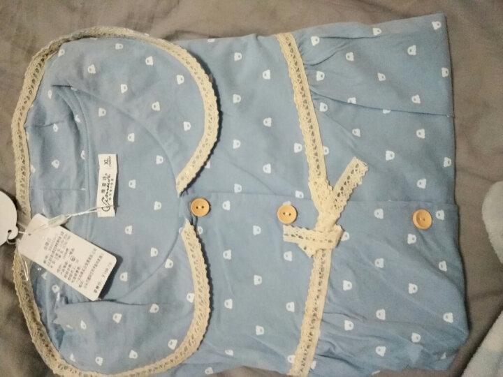 维慕诗韩版 睡衣女夏季 纯棉可爱情侣短袖加大码家居服薄款开衫休闲男士套装 蓝色女款-长裤 S码/小码 晒单图