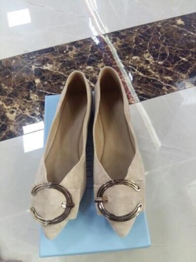 戈美其单鞋女鞋2018春季新品平底皮鞋浅口大码工作鞋 米白色 37 晒单图