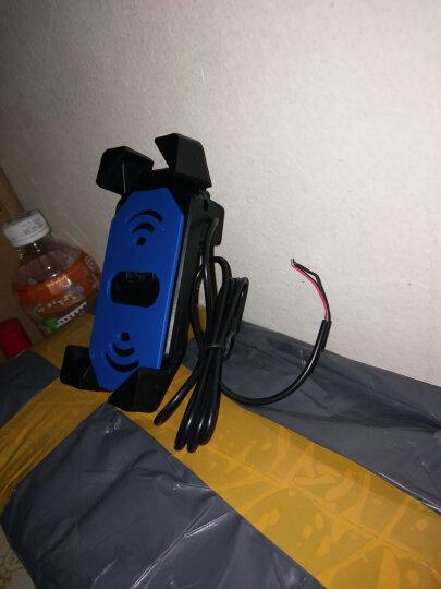德尔雷摩托车手机支架带充电器通用快速充电骑行防水装备雅马哈铃木五羊本田地平线踏板车鬼火配件 蓝色后视镜支架一套 晒单图