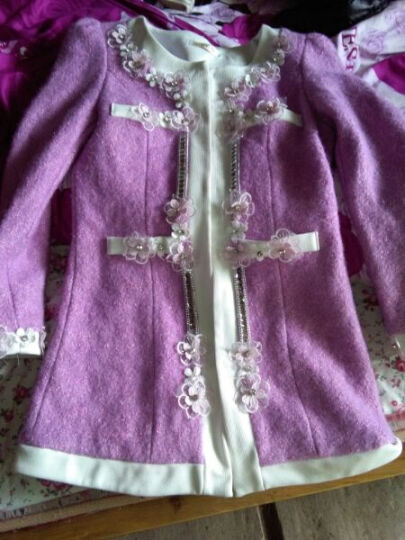 封面丽人 毛呢大衣女中长款外套风衣女新款韩版时尚气质修身大码呢子大衣女 紫色 S 晒单图