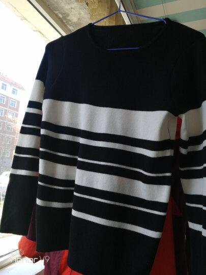茜暖 针织衫女2017秋冬新品修身黑白条纹圆领毛衣女长袖套头打底衫上衣1888 黑色 XL 晒单图