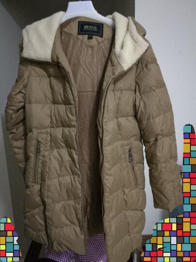 雪中飞羽绒衣服女中长款修身羊羔毛相拼连帽X1301116 12770(棕黄色) 170/92A 晒单图