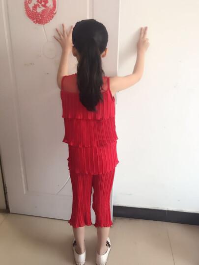 女童夏季套装2018童装新款洋气套装裙儿童短袖裙裤中大童女孩夏装两件套 蛋糕套装【红色】 150cm 晒单图
