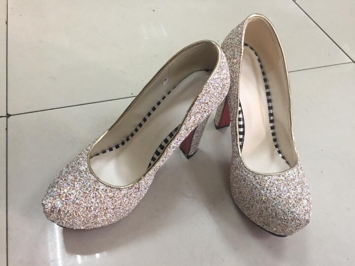 足迹缘新款高跟鞋女防水台高跟单鞋粗跟时尚婚鞋水晶鞋女 白颜色 36 晒单图
