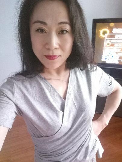 MOCO个性绑带束腰显瘦V字领字母短袖T恤女MA172TEE211 中花灰色 L 晒单图