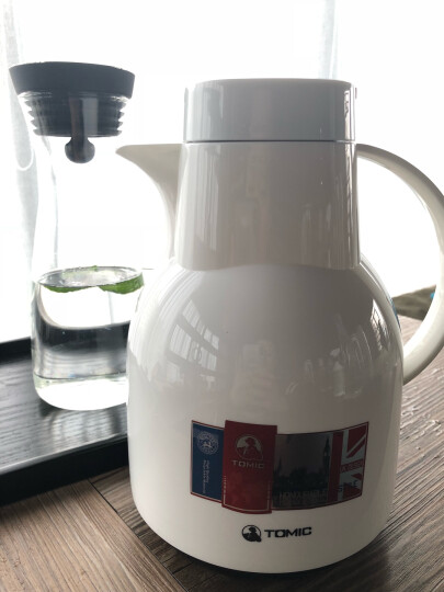 特美刻TOMIC保温壶家用 暖壶水壶热水瓶暖瓶大容量玻璃内胆英伦时尚咖啡壶 白色1L 晒单图