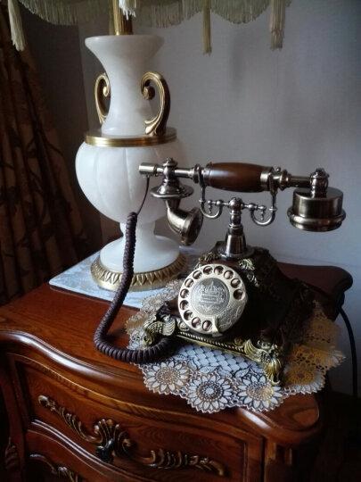 古琛 欧式复古电话机家用仿古电话机座机古典复古固定电话客厅座机摆件 复古转盘-电子单铃(咖色) 晒单图