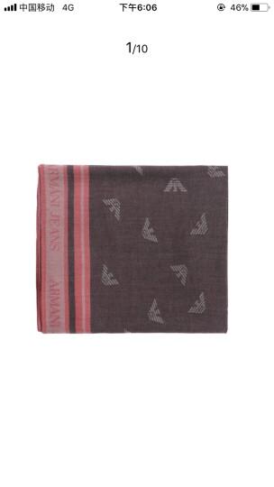 ARMANI JEANS 阿玛尼 奢侈品 男士深灰色粘胶纤维长形围巾 934103 7A703 02753 晒单图