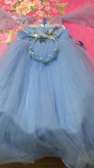 2019夏装儿童长款优雅蓝色女童礼服裙长裙公主裙钢琴表演服花童婚纱裙主持人演出服装小女孩 蓝色 120码(适合身高115-125cm) 晒单图