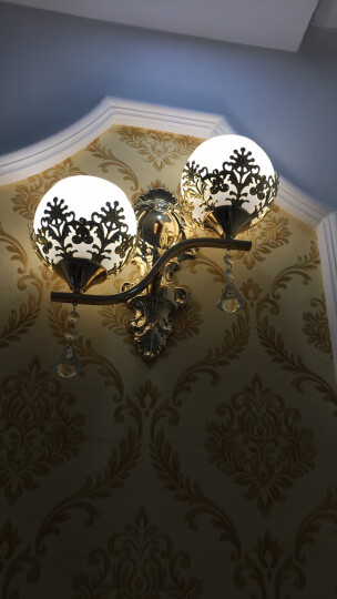 诺度 床头壁灯客厅LED欧式卧室过道走廊楼梯装饰温馨浪漫简约背景灯具 8015双头左高款+送LED7W三色灯泡2个 晒单图