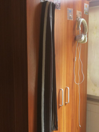 柯衣布  2019年新款潮流男士围巾秋冬季韩版拼色围脖长款保暖毛线围巾男 精美礼盒包装 白黑款 晒单图
