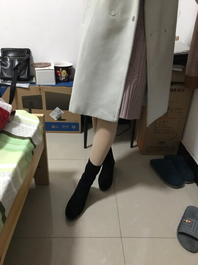 satchi沙驰女鞋新款套脚加绒百搭袜靴 烫钻修脚中跟短靴保暖靴D843515P 灰色-加绒 38 晒单图
