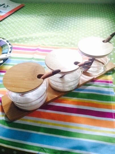 物生物(RELEA)玻璃调味罐套装 健康调料盒 原生态竹木盖 厨房用品带勺调料瓶 3调味罐+3勺子+1底托 晒单图