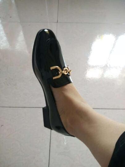 Encordia女鞋 单鞋女2018春季新品浅口女鞋子百搭低跟女小皮鞋街拍链条休闲豆豆鞋 黑色 38 晒单图