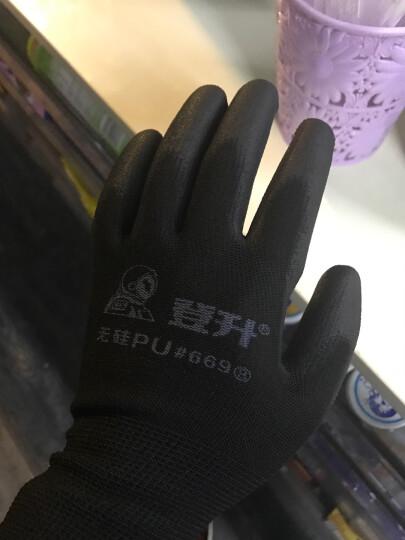 登升(DS) 劳保手套耐磨薄PU防滑浸胶手套防静电透气13针涤纶内衬电子工作手套 #669黑色-12副 晒单图