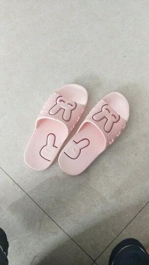 凉拖鞋男士夏季女家居家用室内防滑厚底夏天情侣塑料洗澡浴室拖鞋 亲子款深蓝 32-33(内长20CM) 晒单图