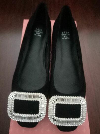 Tata/他她单鞋女鞋休闲方扣浅口平底低跟女士单鞋2A112AQ7 黑色 39 晒单图