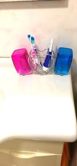 欧润哲 心形不锈钢牙刷架牙具筒刮胡刀剃须刀架 浴室牙膏梳子收纳筒电动牙刷架 牙刷架+情侣对杯 晒单图