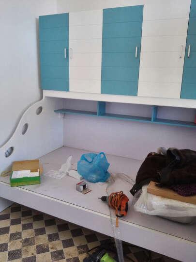 糖果屋 儿童家具3件套房 男孩1.2米衣柜床+书台+书架 蓝色衣柜上下连体床 儿童高低储物床 学习桌 晒单图