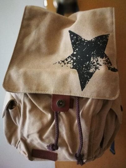 豆鼓眼(DouGuYan)双肩背包男休闲帆布韩版女15.6英寸书包G00121浅棕色五角星 晒单图