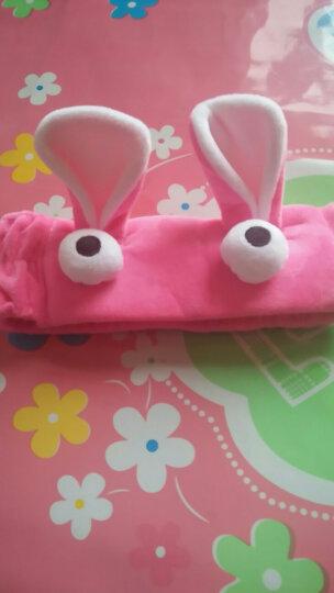 卡通兔耳朵毛绒束发带洗脸化妆头带面膜 运动瑜伽发箍美容巾 玫红色 晒单图