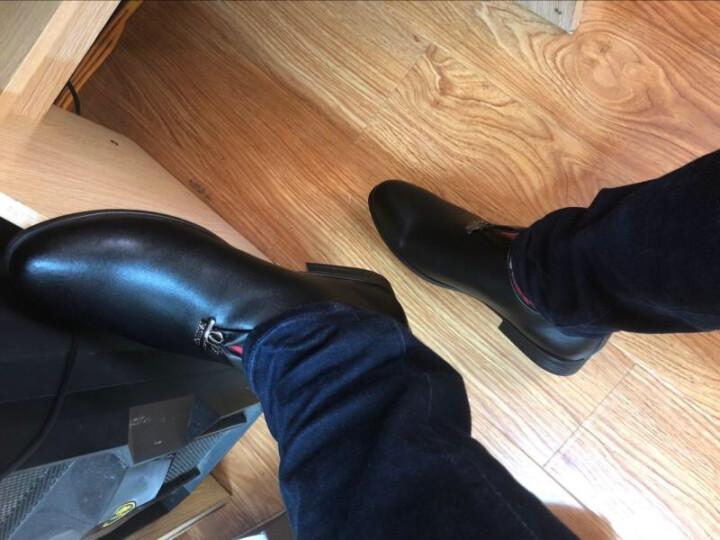 麦尚伦休闲鞋男皮鞋英伦春夏真皮懒人透气商务男士套脚工作鞋子男 5506黑色偏小一码 43 晒单图