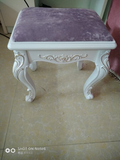 欧式梳妆凳化妆凳布艺美甲凳简约现代小梳妆台椅子卧室实木换鞋凳 格子粉858实木腿 晒单图