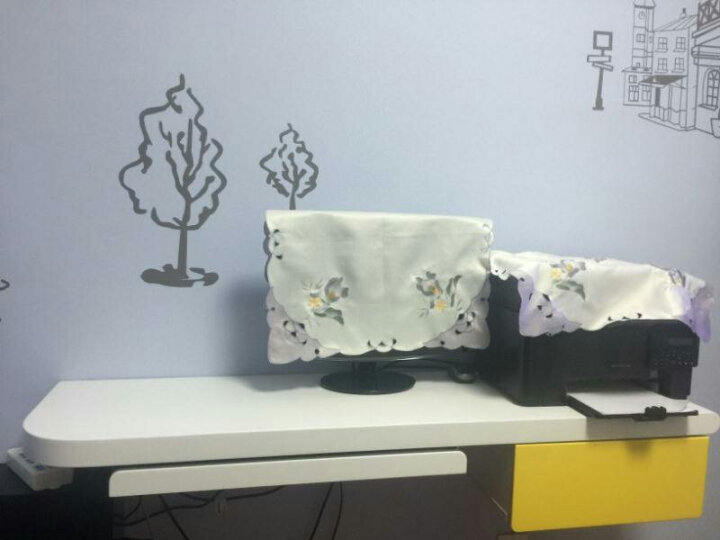 好家好 卧室双人电脑桌台式壁挂书桌妆台多功能组合创意墙上桌省空间简易电视柜酒店宾馆床尾桌一体柜 新款1.8米 右黄抽+ 镜子 晒单图