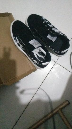 (低帮款99元二双)秋冬季男鞋时尚休闲鞋男款韩版高帮加绒保暖简约潮流乐福鞋平板鞋青少年学生帆布鞋子 (低帮一双))黑白 40 晒单图