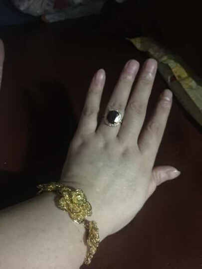 6克拉宝石戒指女款潮流韩版人工红水晶食指装饰指环夸张镀金饰品时尚生日生日礼物送女友 指圈21号内直径21MM 晒单图