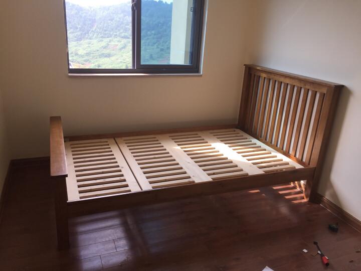 华谊 实木床 中式竖条床1.5米1.8米简易仿古色双人床英式乡村白橡木床 卧室家具 1200*2000mm 晒单图