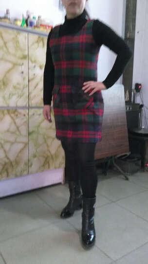 黛萍  连衣裙女2018新款女装春夏季新品毛呢裙两件套套装裙背心裙 绿色格子+打底衫 XXXL 晒单图