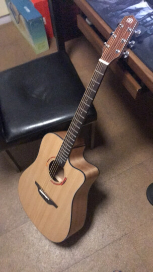 Nightwish 拉维斯 单板民谣吉他木吉他41寸初学者乐器 米维斯S 桃花心 咖啡色 41寸 晒单图