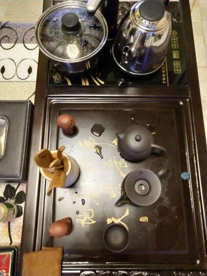 言艺 茶具套装 陶瓷茶具 整套茶盘茶海茶台功夫茶具电热磁炉四合一 象简(檀木色)配郁灵盖碗 晒单图